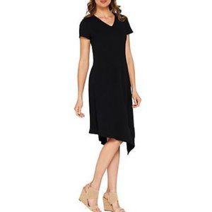 H by Halston Crepe Knit Midi Dress Asymmetric Hem